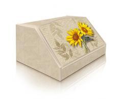Lupia Caja para pan, estilo rústico, diseño de 2 girasoles, en madera, 30 x 40 x 20 cm