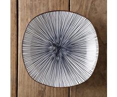 Vajilla de cerámica minimalista moderna de color bajo vidriado Estilo japonés para el hogar Plato de plato de comida cuadrado profundo de 8 pulgadas