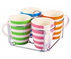 5-unidades Tazas-set con soporte - rayas - Cerámica - 4 tazas 350 ml - China - tazas de café - vajilla - taza - Jumbo taza - café Pott - vasos-Set