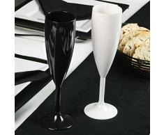 Policarbonato Premium Elite de champán negro 7 oz/200 ml | Copas de champán de plástico reutilizable, prácticamente irrompible de plástico de policarbonato - Ideal para fiestas, exterior o Event con enganche para