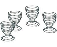 Zeller 24915 Juego de Hueveras, Metal, Plateado, 20x5x5 cm, 4 Unidades