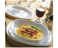 Bormioli Rocco - Juego de vajilla de vidrio opalino blanco, cuadrada, de 18 piezas, de Parma, de 6 platos de cada artículo, llanos y soperos