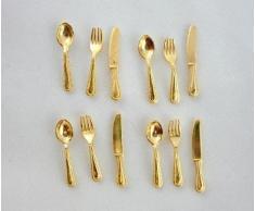 Juego de Cubiertos Dorados de Vajilla Miniatura de Casa de Muñecas 332
