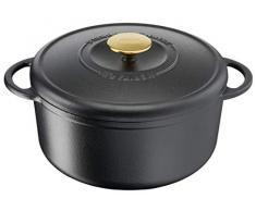 Tefal Heritage Cacerola 21 cm, Hierro Fundido, 3,3 litros, Tapa potenciadora de condensación, retención del Calor, Fuego Lento, guisos, caramelización, Apto para Todo Tipo de cocinas, Cast Iron