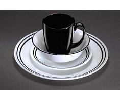 Corelle - Juego de vajilla de 16 piezas, de vidrio Vitrelle resistente a las roturas y las desportilladuras, modelo Brilliant Black Beads, servicio para 4 personas, color negro