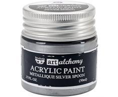 Prima Marketing finnabair Art Alchemy Pintura Acrílica 1.7 Fluid Ounces-metallique Plata Cuchara