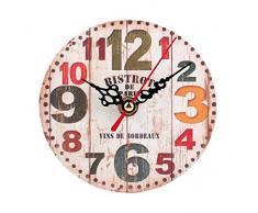 Reloj de Pared de Madera Retro, Holacha Reloj de Silencio Redondo Decoración Hogareña (C)