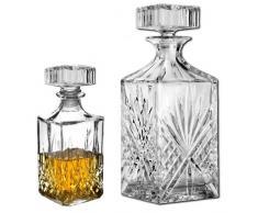Decantador de whisky con vasos de vino o licores, como copa para Brandy