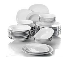MALACASA, Serie Elisa, 48 Piezas Juegos de Vajillas de Porcelana, 12 Platos de Postre, 12 Platos de Sopa, 12 Platos Planos y 12 Cuencos de Cereales Vajillas para 12 Personas