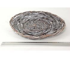 Ratán-cuenco redondo, blanco-nailon tranzado, 29 cm
