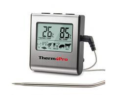 ThermoPro TP16 Termómetro digital de Cocina Carne y Alimento / Termómetros para Carne Barbacoa Horno y Parrilla, con Temporizador de Alarma, y la Sonda de Acero inoxidable