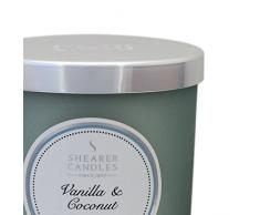 Shearer Candles Decoragloba SCC721-Vela con Vaso de Cristal, Vegetal con Esencia Vanilla y Coconut, 7,5 x 8,5 cm, Color Gris, Cera Blanca, 2.5x5.5x6.5 cm