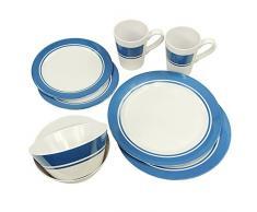 Fridani MDD Dinnerware - vajillas de melamina, 8 piezas, 2 tazas, 4 placas en 2 tamaños, 2 cuencos