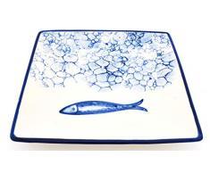 ART ESCUDELLERS Plato Cuadrado 25CM en Ceramica Hecho y Pintado a Mano con decoración Marina. 24 cm x 24 cm x 3 cm