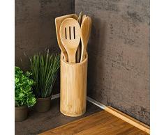 Relaxdays 10018879 juego de utensilios de cocina, diseño de violeta con pinzas de bambú