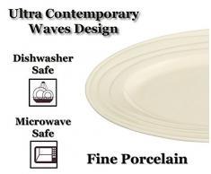 Jamie Oliver Waves - Plato ovalado para servir (porcelana, cerámica, porcelana blanca fina, moderno, ultrarcontemporáneo, apto para lavavajillas y microondas)