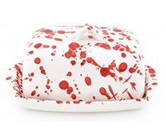 MANTEQUILLERA en Ceramica Hecha y Pintada a Mano con decoración Mate Rojo. 18 cm x 12 cm x 10 cm