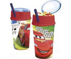 Cars - Vaso plastico con tapapajita y compartimento snack 400 ml (Stor 22901)