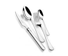 Monix Manila - Set 49 piezas cubiertos de acero inox 18/10 con cuchillo chuletero y estuche Nogal (12 comensales)