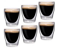 Feelino Bloomino - Juego de 6 vasos de espresso de doble pared (80 ml, efecto flotante)