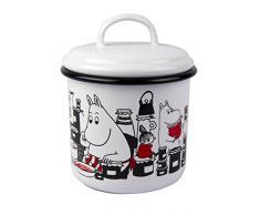 Muurla - Tarro con tapa (1 L, esmaltado), diseño de Moomin con botes de mermelada, color blanco