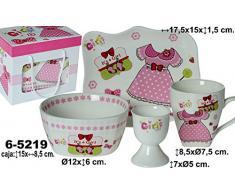DonRegaloWeb - Vajilla infantil de 4 piezas en cerámica con bandeja, bol, huevera y mug en color blanco y rosa