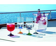 Marine Business Party - Copas de vino apilables, policarbonato, transparentes, con base de colores