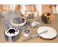 CHG 201-17 - Juego de utensilios para repostería (plato para tartas de 30 cm con tapa de 11 cm de alto, molde para tartas ajustable de 16 cm a 30 cm y 8,5 cm de altura, espátula para extender de 37 x 3 cm, separador de claras,