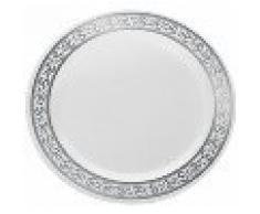 Decorline-Vajillas desechables Partido plato Platos de plástico blanco con borde de plata de plástico resistente vajillas desechables (Placa de 19 cm)