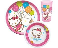 Unitedlabels 0119229 - Set infantil de desayuno (melamina y plástico, 3 piezas), diseño de Hello Kitty