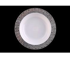 DECORLINE Estable Luxe placa de plástico desechables platos -Desechables lujo Vajilla - blanco con encajes borde de plata -Inspiración Colección(Placa de 26 cm)