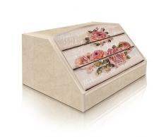 Lupia Caja para pan, estilo rústico, diseño rosa, en madera, 30 x 40 x 20 cm