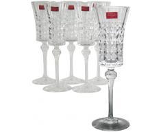 Cristal d´Arques, Lady Diamond copa de champán 150ml, sin la marca de llenado, 6 Copa