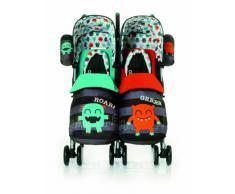 Cosatto Supa Dupa Cuddle Monster - Silla de paseo gemelar con manillar ajustable y cesta, multicolor