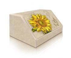 Lupia Caja para pan, estilo rústico, diseño girasol, en madera, 30 x 40 x 20 cm