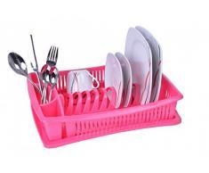 Escurridor de platos - Rosa - con rejilla - escurridor vajilla - escurridor - bandeja - escurreplatos - escurridor vajilla