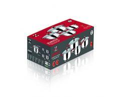 Bergner Zurich - Batería de cocina de 7 piezas, diámetros de 16 cm, 20 cm y 24 cm, apto para inducción, plateado y rojo