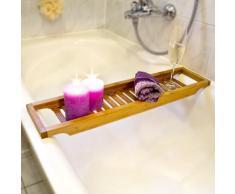 Relaxdays - Bandeja con rejillas para la bañera hecha de bambú con medidas 4 x 64 x 15 cm se puede colocar velas y copas resistente a la humedad, color natural