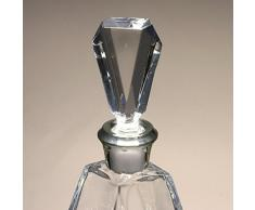 Botella de cristal, decanter, garrafa, para whisky y licor, de Bohemia, boquilla en plata de ley 925, 27,5 cm. de altura.