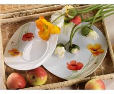 Domestic 920840 Papavero - Vajilla cuadrada de porcelana (6 platos llanos y 6 platos hondos), diseño de flores