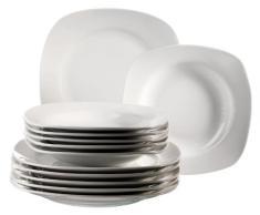 Domestic 920901 Villa - Vajilla de porcelana (12 piezas: 6 platos llanos y 6 platos hondos), color blanco