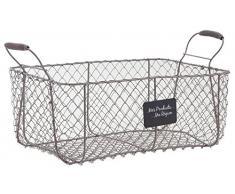 Cajón gris alambre cesta del almacenaje de metal de Granja de estilo francés del almacenamiento de verduras Cesto