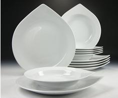 Creatable - Vajilla (12 piezas, forma de gota, fabricada en Europa), color blanco