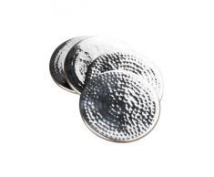 Premier Housewares - Juego de 4 posavasos de acero inoxidable (9 x 9 cm) efecto martillado