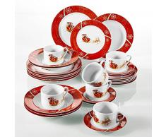 VEWEET, Serie CHRISTMASDEER, 30 Piezas vajillas de Porcelana, 6 Tazas 6 platillos 6 Platos de Sopa 6 Plato de Comida 6 Platos de Postre vajilla de Navidad para 6 Persona