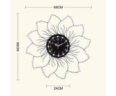 Creative Light- Europea Mute Reloj de pared Personalidad Arte Decorativo Reloj de pared contemporáneo Creative Minimalista Salón Reloj de pared ( Color : Negro )