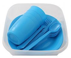 Menz Outdoor - de camping/picnic de juego, juego de vajilla para 4 personas 21 piezas de plástico con plato, taza y cubiertos - Fabricado en Europa., azul, 1 set