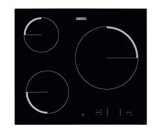 Zanussi ZEV6330FBA Placa vitrocerámica, Biselada, 3 zonas de cocción, Paellero, Panel de control táctil independiente, Bloqueo Seguridad, Sin Marco, Negro, 60 cm