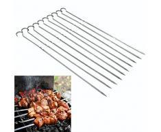 Zerodis Pinchos de Barbacoa BBQ Pinchos de Kebab De Metal para Asar a la Parrilla Pinchos de Acero Inoxidable Largos Pinza de Aguja Plana