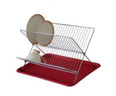 Axentia 291330 - Escurridor de platos cromado con bandeja, color rojo